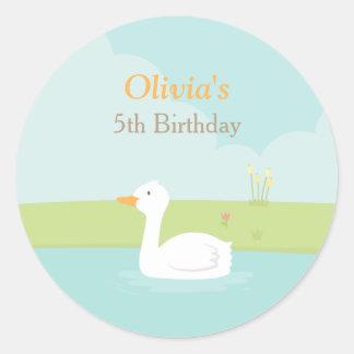 Elegant White Duck Spring Pond Decorative Stickers