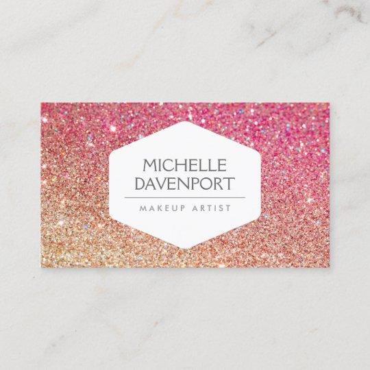 Elegant white emblem bronzepink ombre glitter business card elegant white emblem bronzepink ombre glitter business card m4hsunfo