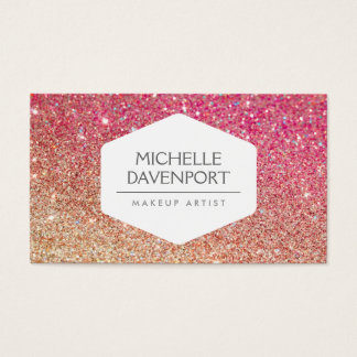 ELEGANT WHITE EMBLEM BRONZE/PINK OMBRE GLITTER BUSINESS CARD