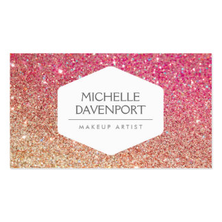ELEGANT WHITE EMBLEM BRONZE/PINK OMBRE GLITTER Double-Sided STANDARD BUSINESS CARDS (Pack OF 100)