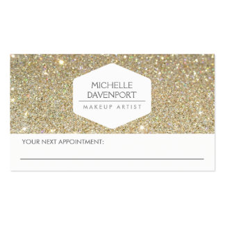 ELEGANT WHITE EMBLEM GOLD GLITTER APPOINTMENT CARD Double-Sided STANDARD BUSINESS CARDS (Pack OF 100)