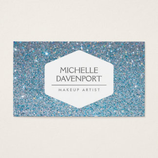 ELEGANT WHITE EMBLEM ON BLUE GLITTER BACKGROUND BUSINESS CARD