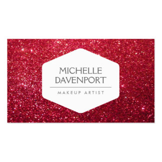 ELEGANT WHITE EMBLEM ON DEEP RED GLITTER Double-Sided STANDARD BUSINESS CARDS (Pack OF 100)