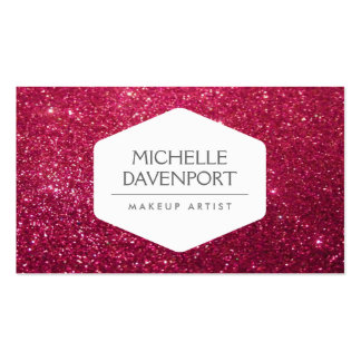 ELEGANT WHITE EMBLEM ON DEEP RED GLITTER II Double-Sided STANDARD BUSINESS CARDS (Pack OF 100)