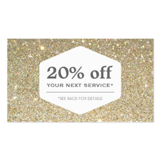 ELEGANT WHITE EMBLEM ON GOLD Discount Coupon Card Double-Sided Standard Business Cards (Pack Of 100)
