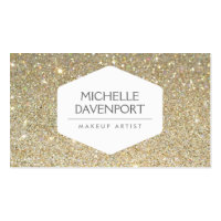ELEGANT WHITE EMBLEM ON GOLD GLITTER BACKGROUND Double-Sided STANDARD BUSINESS CARDS (Pack OF 100)