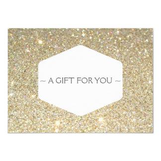 ELEGANT WHITE EMBLEM ON GOLD GLITTER Gift Card