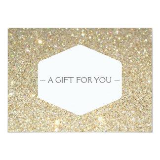 ELEGANT WHITE EMBLEM ON GOLD GLITTER Gift Card Custom Announcement