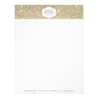 ELEGANT WHITE EMBLEM ON GOLD GLITTER Letterhead