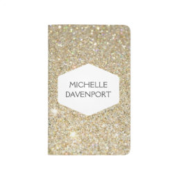 ELEGANT WHITE EMBLEM ON GOLD GLITTER Personalized Journal
