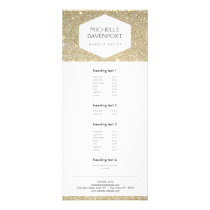 ELEGANT WHITE EMBLEM ON GOLD GLITTER Rack Card