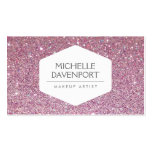 ELEGANT WHITE EMBLEM ON PINK GLITTER BACKGROUND Double-Sided STANDARD BUSINESS CARDS (Pack OF 100)