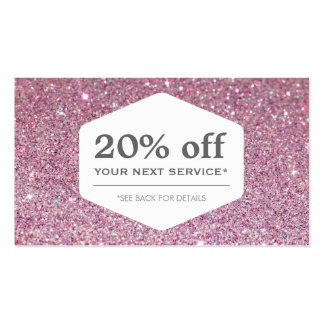 ELEGANT WHITE EMBLEM ON PINK GLITTER Coupon Card Double-Sided Standard Business Cards (Pack Of 100)