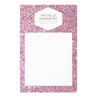 ELEGANT WHITE EMBLEM ON PINK GLITTER Flyer