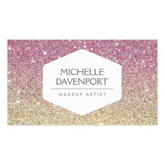 ELEGANT WHITE EMBLEM ON PINK OMBRE GLITTER Double-Sided STANDARD BUSINESS CARDS (Pack OF 100)