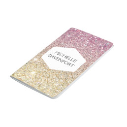 ELEGANT WHITE EMBLEM ON PINK OMBRE GLITTER JOURNAL