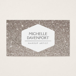 ELEGANT WHITE EMBLEM ON SILVER GLITTER BACKGROUND BUSINESS CARD
