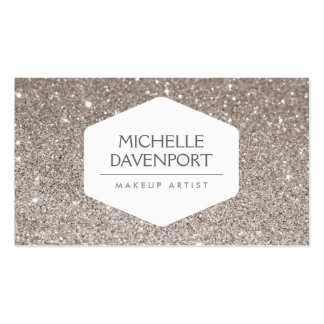ELEGANT WHITE EMBLEM ON SILVER GLITTER BACKGROUND BUSINESS CARD TEMPLATE