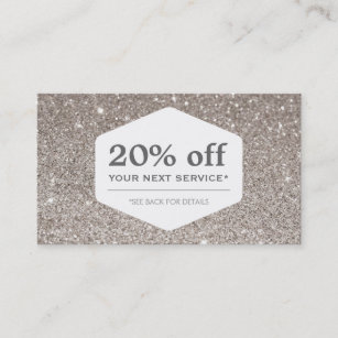 Store coupon business cards templates zazzle elegant white emblem on silver glitter coupon card colourmoves