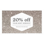 ELEGANT WHITE EMBLEM ON SILVER GLITTER Coupon Card Double-Sided Standard Business Cards (Pack Of 100)