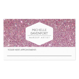 ELEGANT WHITE EMBLEM PINK GLITTER APPOINTMENT CARD Double-Sided STANDARD BUSINESS CARDS (Pack OF 100)