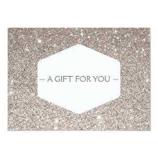 ELEGANT WHITE EMBLEM SILVER GLITTER Gift Card Personalized Invite