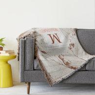Elegant White Fall Leaves Pumpkins - Family Name Throw Blanket