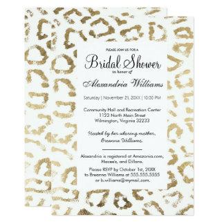 Elegant white faux gold animal print bridal shower card