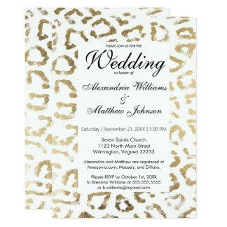 Elegant white faux gold animal print wedding card