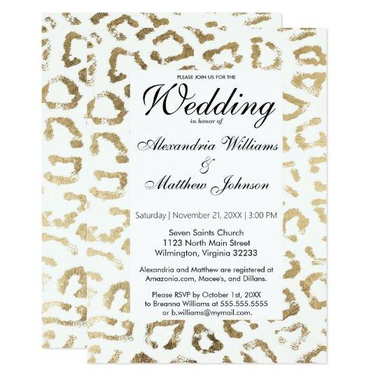 Elegant White Faux Gold Animal Print Wedding Invitation