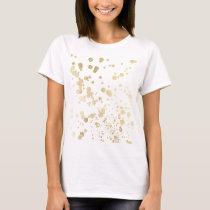 Elegant white faux gold stylish chic confetti dots T-Shirt