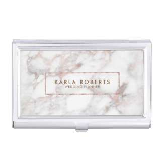 Elegant White Faux Marble Rose-Gold Accent Case For Business Cards