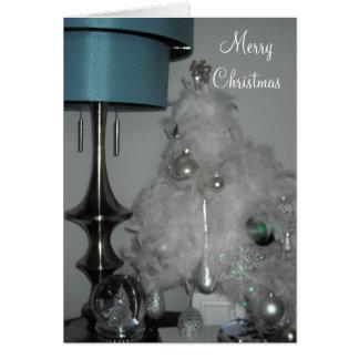 Elegant White Feather Christmas Tree Card