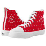 Elegant White Feathers & Diamonds on Red High-Top Sneakers