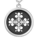 Elegant white fleur de lis damask motif personalized necklace