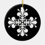 Elegant white fleur de lis damask motif Double-Sided ceramic round christmas ornament
