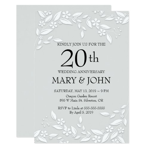 Elegant White Floral 20th Anniversary Invite