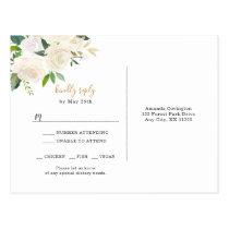Elegant white floral gold wedding rsvp   entrees postcard