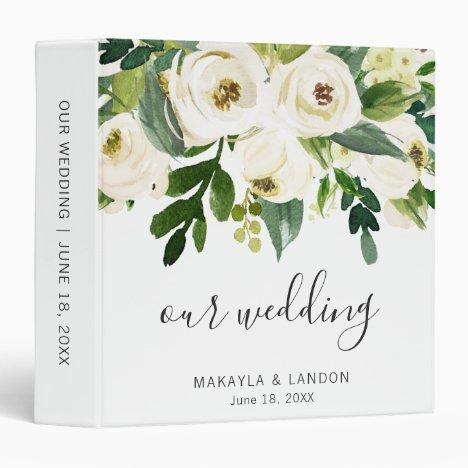 Elegant White Floral Greenery Wedding Photo Album 3 Ring Binder