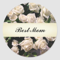 Elegant White Floral Happy Mother's Day Roses Classic Round Sticker