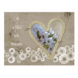 Elegant White Floral Heart Post Card