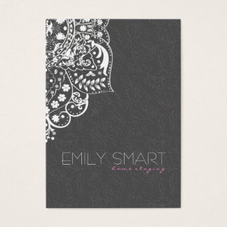 Elegant White Floral Lace & Gray Damask Business Card