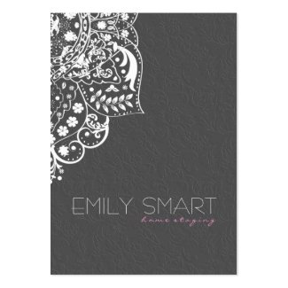 Elegant White Floral Lace & Gray Damask