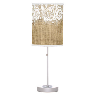 Elegant white floral lace with pearls on burlap desk lamp