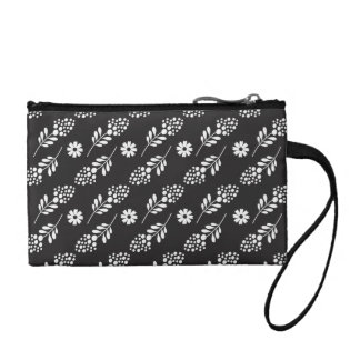 Elegant White Floral Pattern On Black Coin Purses