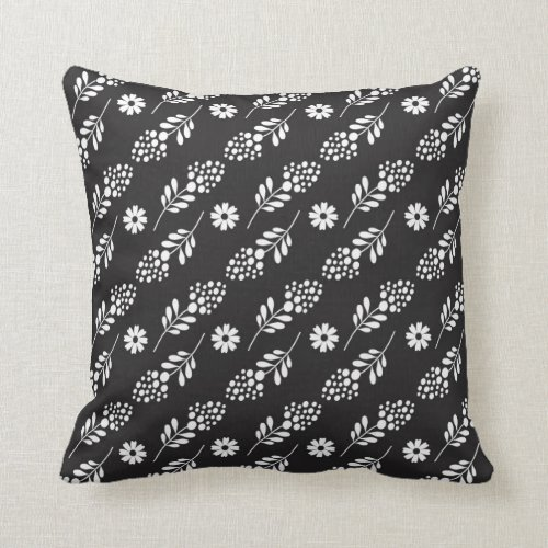Elegant White Floral Pattern On Black Throw Pillow