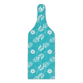 Elegant White Floral Pattern On Turquoise Cutting Boards