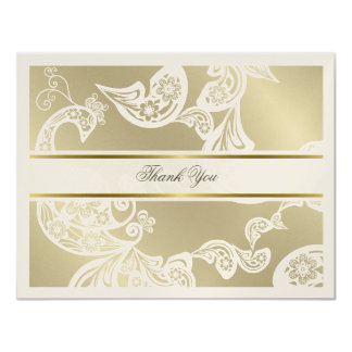 Elegant White Floral Peacock Wedding Thank You 4.25x5.5 Paper Invitation Card