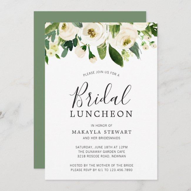 Elegant White Floral Watercolor Bridal Luncheon Invitation