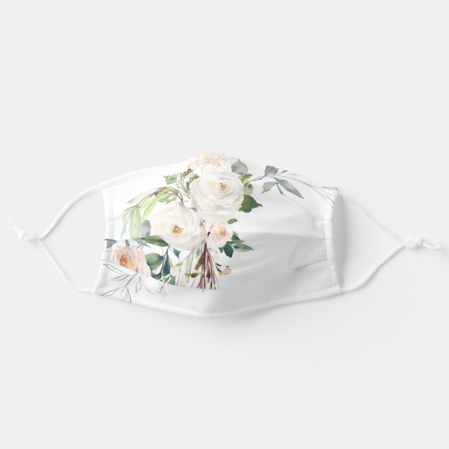 Elegant White Floral Watercolor Pretty Womens Cloth Face Mask